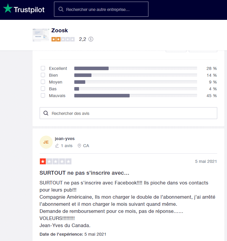 Avis utilisateurs Zoosk